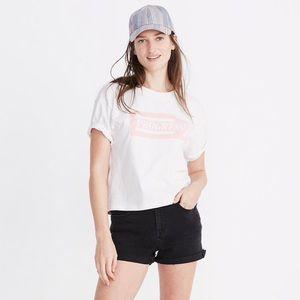 High-Rise Denim Shorts in Lunar Wash: Size 25